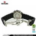 高檔六針石英機芯不鏽鋼手錶不鏽鋼包硅膠帶手錶廠家專業生產 5