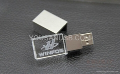 Crystal usb flash drive with 3D engraved logo inside