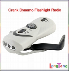 Hand Crank Dynamo Flashlight Emergency charger FM AM radio torch light 283B