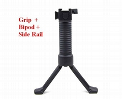 Tactical Gear Military Steel Inserted Leg Grip+Bipod+Side Rail Rifle ForeGrip