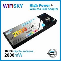 wifisky2000 usb wlan adapter,8187l chipset,54Mbps,10dBi antenna,Crack CD