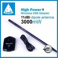 Melon N3000,Ralink3070 chipset,802.11N wireless adapter,150Mbps,11dBi antenna