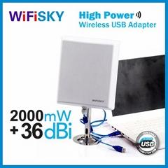 wifisky N810,usb wlan adapter,Ralink3070 chipset,802.11N,2000mW,36dBi high gain