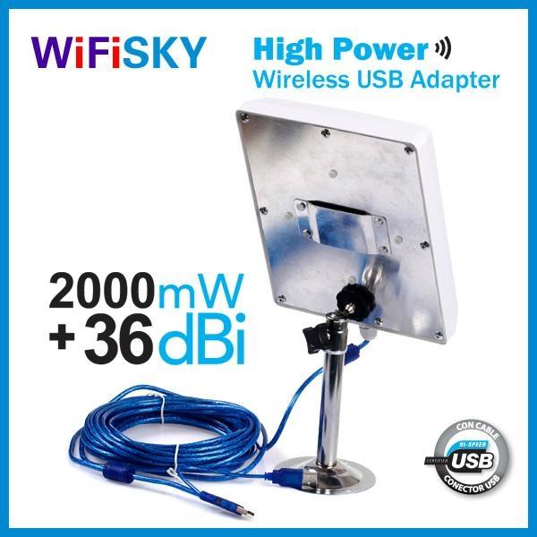 wifisky N810,usb wlan adapter,Ralink3070 chipset,802.11N,2000mW,36dBi high gain 2
