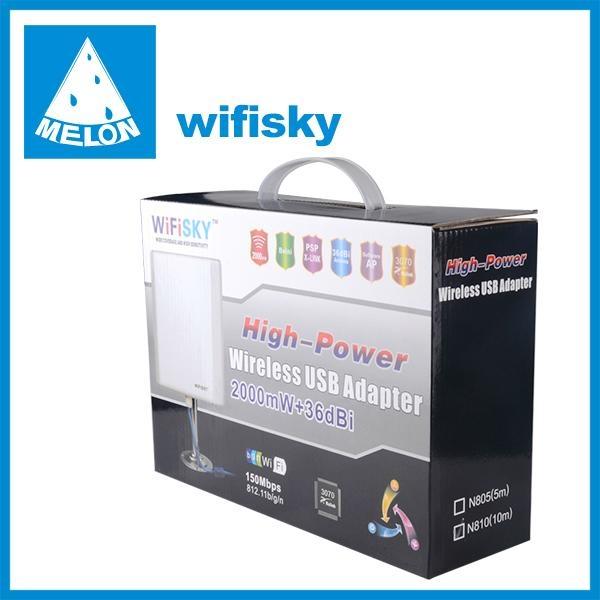 wifisky N810,usb wlan adapter,Ralink3070 chipset,802.11N,2000mW,36dBi high gain 3