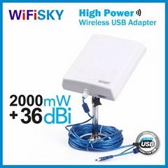 2000mW wifi adapter Wifisky N810 ralink3070 chipset 802.11N standards 36dBi 10m