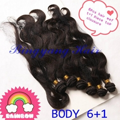 "Brazilian Virgin Hair products Body wave 6 pcs 14""14""16""16""18""18"" + Top clousure"