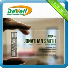 fashion and fancy double sided pvc business cards PVC PET ABS material transpare