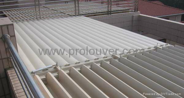pergola aluminum roof motorized operable louver waterproof - PROLOUVER ...