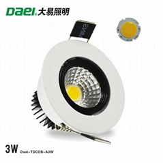 Daei Brand 3w LED Downlight Recessed indoor COB Chip light for free shipping