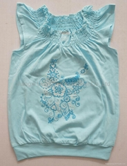 little girl wings sleeve smocking t shirt with flower embroidery