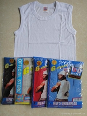 men branded plain white combed cotton tank top for underwear and sports wear
