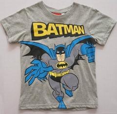 children's crewneck grey t shirt with batman carton printing