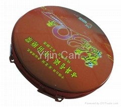 Low price & fashion round colored cd tin box with zipper
