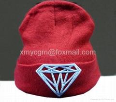 3D立体钻石绣花嘻哈针织线帽