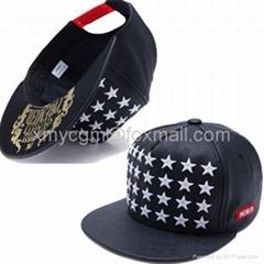 時尚潮流3D立體星星繡花全PU材質棒球帽