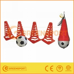 Plastic football cones set with ball