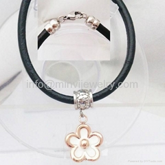 316L stainless steel charm bracelet Gold jewelry flower charm leather bangle clo