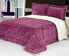 PV plush comforter 3pcs set