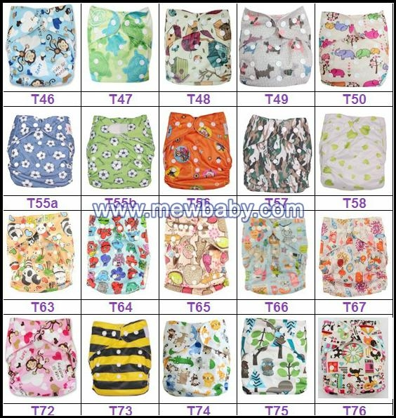 Various Colors and Cute Patterns Reusable Cloth Babies Diapers Nappies 1
