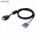 High speed Black 15pin VGA to 3rca cable