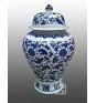 Blue and white swallow tall ginger jar
