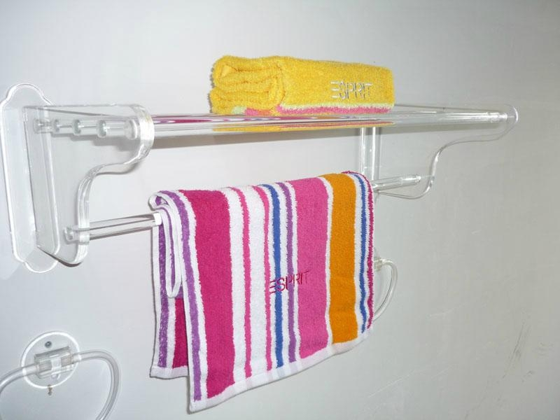 Acrylic towel rack holder and stand and acrylic shower for Bathroom accessories stand