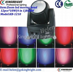 12pcs 10W LED wash moving head with zoom