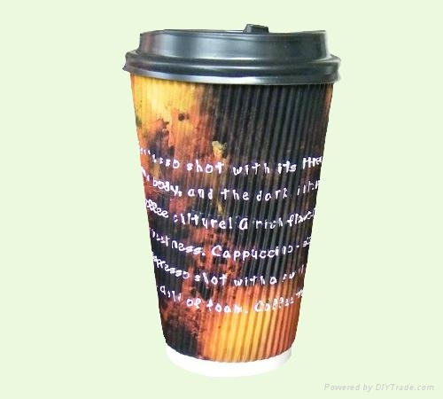 Corrugated Wall Paper Cup with Lids 1
