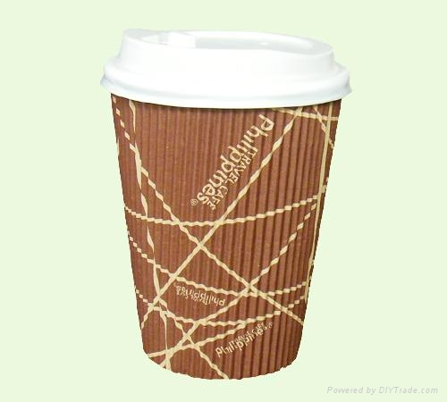 Corrugated Wall Paper Cup with Lids 4