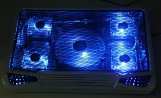five fans changeable lights notebook cooling pad 5