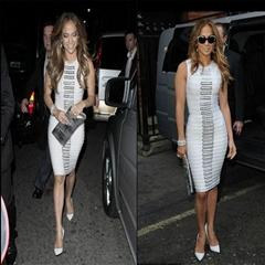 Latest Style Women's White Black Sleeveless Bandage Dress Luxury Metal Ring Desi