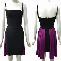 New Arrival women black & purple bandage Dress Metal on Waist Sides Studed Celeb