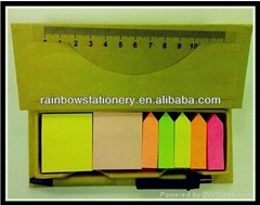 Sticky Note Pad set with ruler and pen