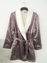 Leopard double-layers satin kimono man bathrobe underwear