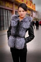 silver fox fur sleeveless regular female women winter vest with a hoodie