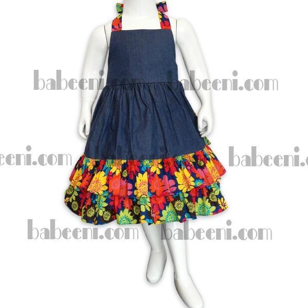 Girls denim and flower dress 1