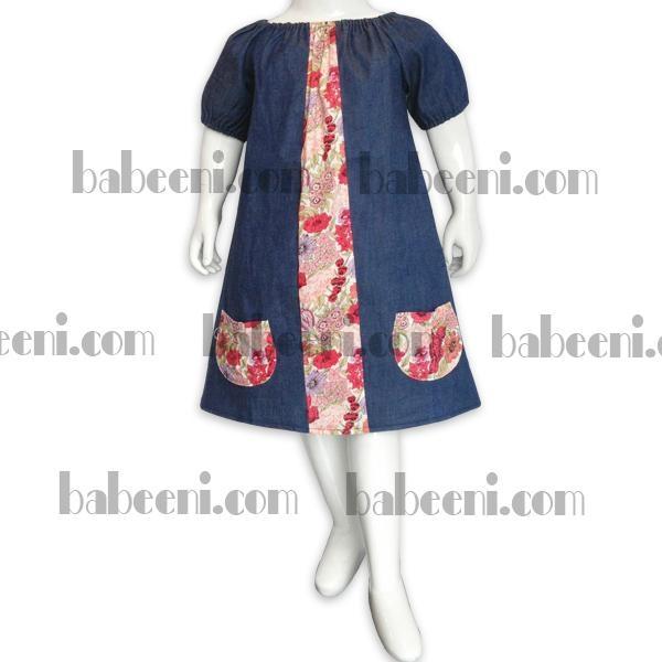 Girls denim and flower dress 2