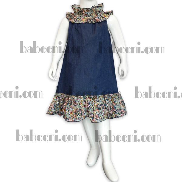 Girls denim and flower dress 3