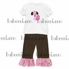 Fancy appliqued pant set for girls