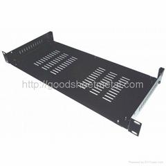1U 19 inch Black Steel Standard vented Rack Shelf