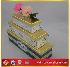 Rectangle Gold Lid Three Pcs Per Set Paper Gift Boxes