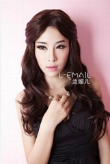 Top quality synthetic 60cm long dark brown beauty hair wig