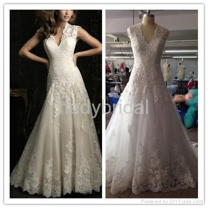 France romantic lace outlined wedding dress ruffles exquisite 1