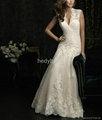 France romantic lace outlined wedding dress ruffles exquisite 4
