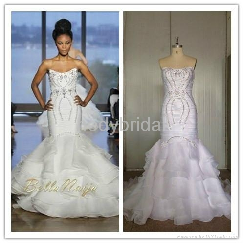 2014 new collections wedding dress ruffles exquisite crystal bead 1