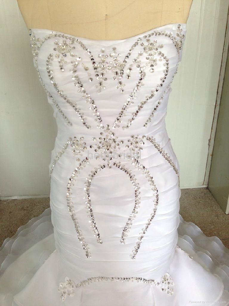 2014 new collections wedding dress ruffles exquisite crystal bead 3
