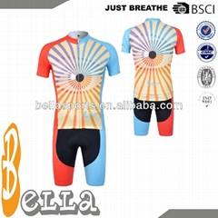 2014 hot sale China custom cycling jersey with sublimation printing and cool dry