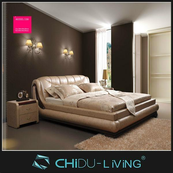 White Modern Leather Beds Wedding Bedroom Furniture King