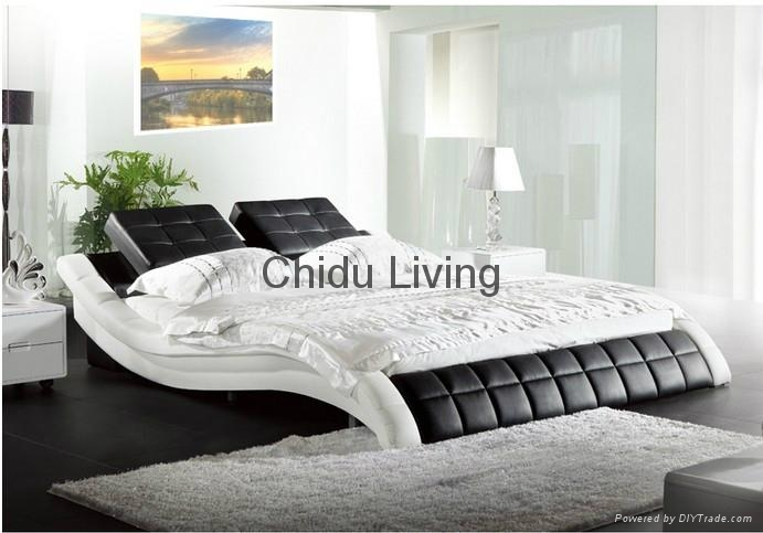 White Modern Leather Beds Wedding Bedroom Furniture King